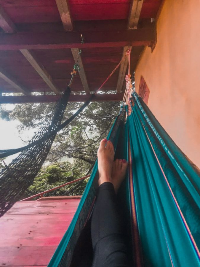 Hanging out in a hammock at the Lost and Found Hostel