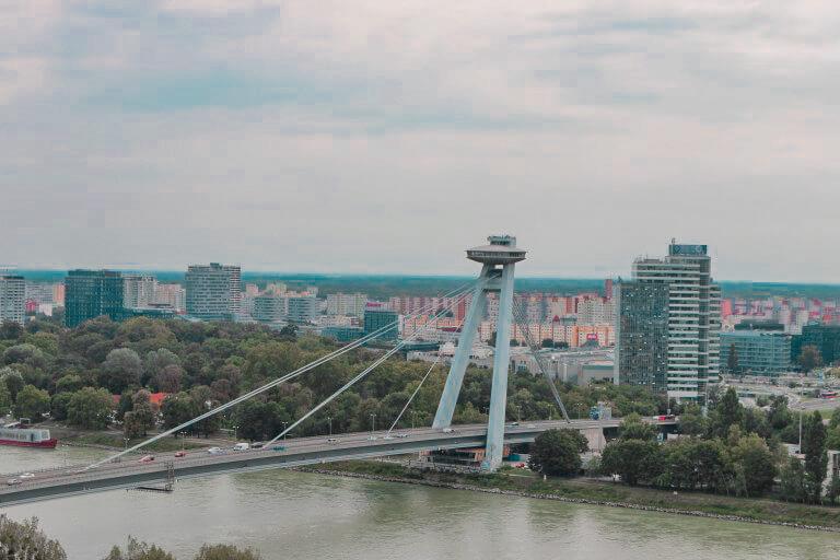 View of the UFO bridge from the Bratislava Castle