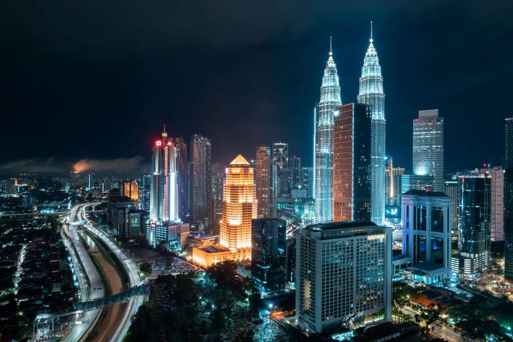 Kuala Lumpur at night with the Petronas towers