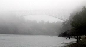 Fishing in the fog under Deception Pass Bridge.
