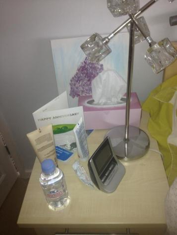 Friend Five's bedside table