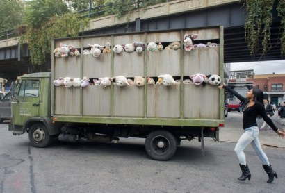 'The Sirens of the Lambs', a work by the has been moving through the meatpacking district of New York CIty.