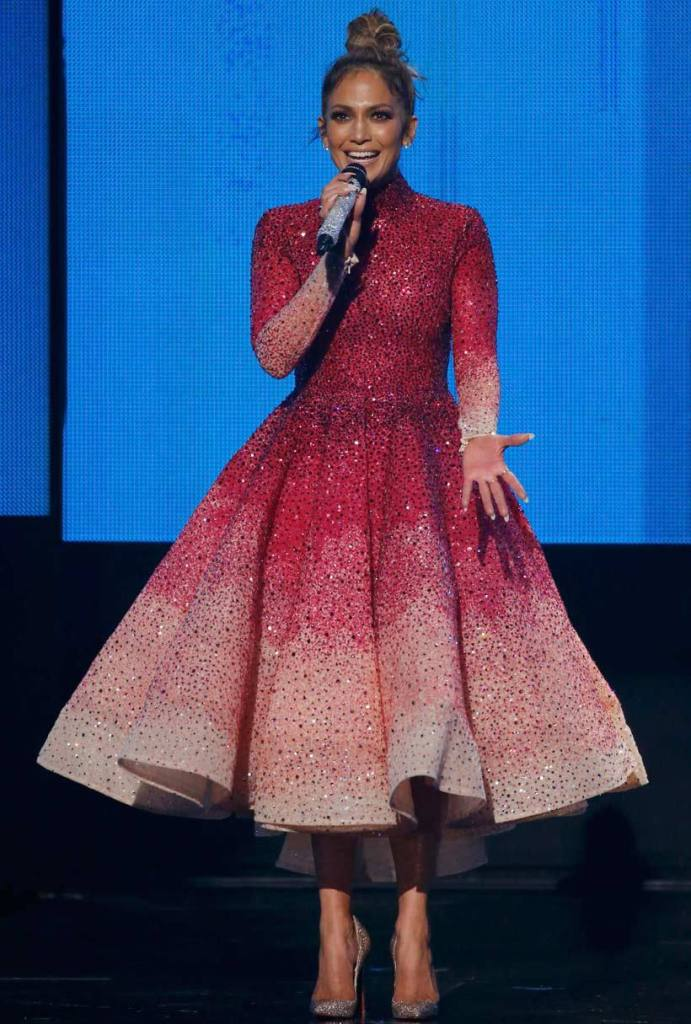 JLO AMA red/pink dress top knot 2