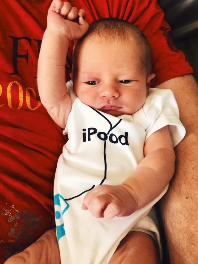Charlie in iPood onesie