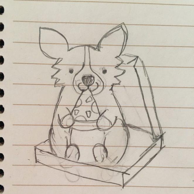 Doodle of pizza box corgi