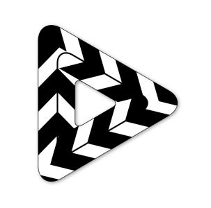 Black and white striped triangle icon