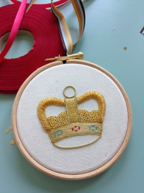 Goldwork Crown for The Crown pub