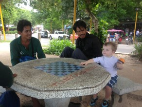 playing checkers with the locals