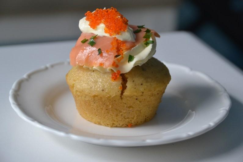smoked salmon and caviar on a rosemary corn muffin