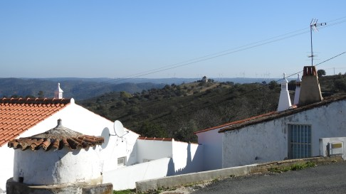 View of the windmill and Spain from Corte das Donas