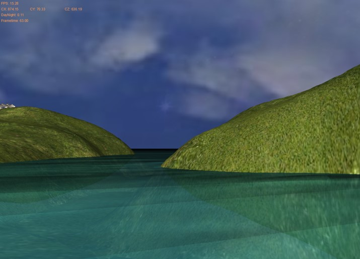 REFRACTION: Texture created based on camera's position and view of everything below the water. Everything above the water is clipped. Refraction and Reflection textures combined, based on Fresnel calculation with camera's height.