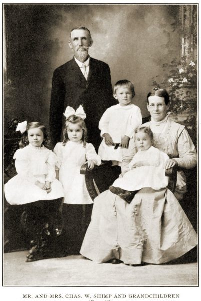 Charles Wesley Shimp and Sarah Catherine Oldfather with grandchildren.