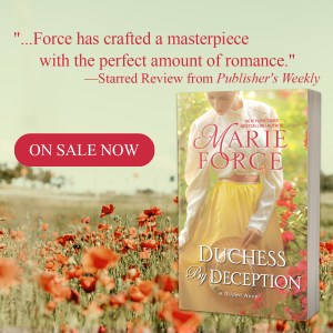 """Force has crafted a masterpeice with the perfect amount of romance,""--Starred Review from Publisher's Weekly  On sale now: DUCHESS BY DECEPTION"