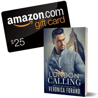 Giveaway graphic--$25 Amazon GC and London Calling book