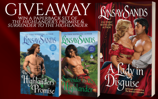 Giveaway graphic  Win a paperback set of The Highlander's Promise & Surrender to the Highlander