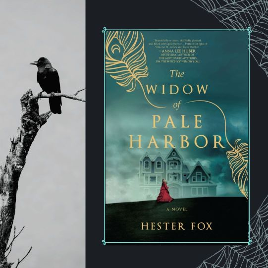 The Widow of Pale Harbor teaser graphic book cover, raven in dead branch, spider webs