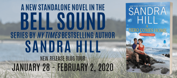 A new standalone novel in the Bell Sound series by NY Times bestselling author Sandra Hill A HERO COMES HOME  new release blog tour banner