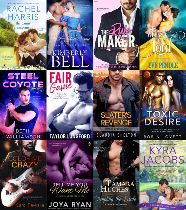 Books on sale graphic The Nanny Arrangement - Rachel Harris A Scandal by Any Other Name - Kimberly Bell The Rule Maker - Jennifer Blackwood Six Weeks with the Lord - Eve Pendle Steel Coyote - Beth Williamson Fair Game - Taylor Lunsford Slater's Revenge - Claudia Shelton Toxic Desire 0 Robin Lovett Color Me Crazy - Carol Pavliska Tell Me You Want Me - Joya Ryan Tempting the Pirate - Tamara Hughes Her Unexpected Detour - Kyra Jacons