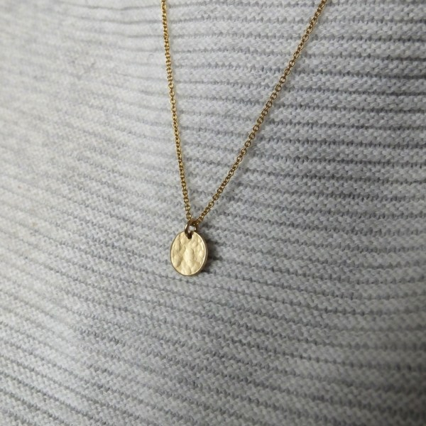 Hammered Disc Necklace - Gold