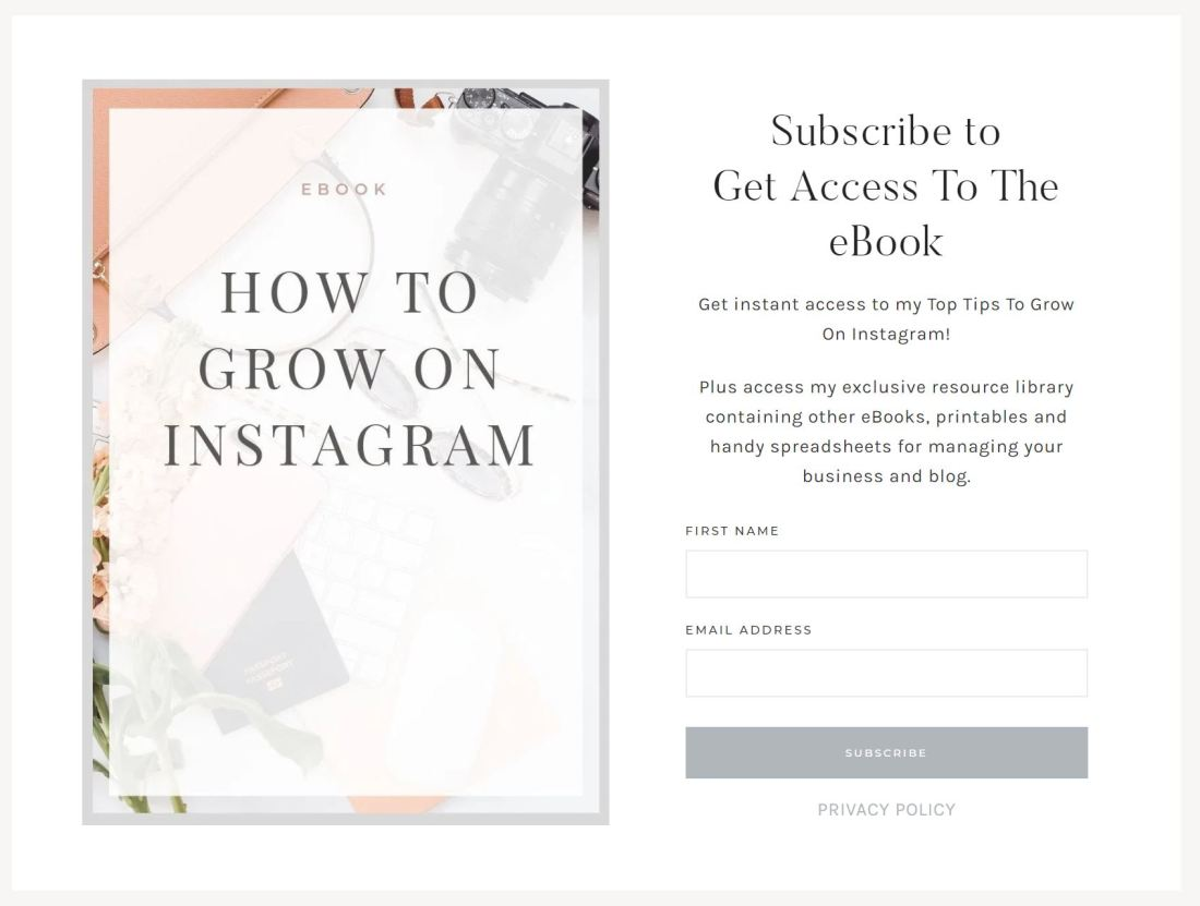 instagram e book example landing page
