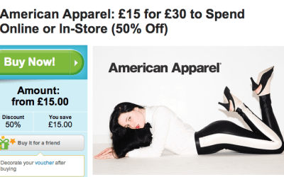 £15 for £30 American Apparel voucher