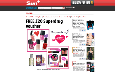 £1 for £20 Superdrug voucher