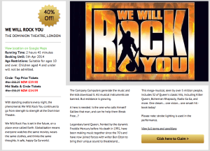 We Will Rock You offer