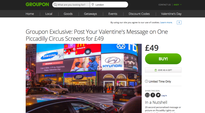 Piccadilly circus groupon valentine's message