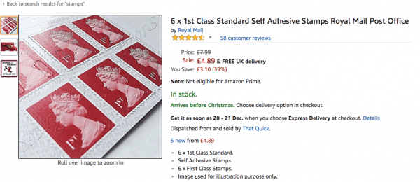 Stamps sold on Amazon at higher price
