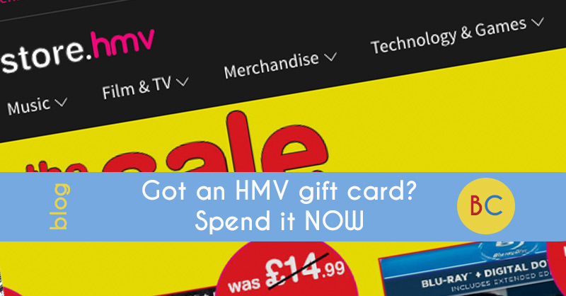 HMV gift card spend it now