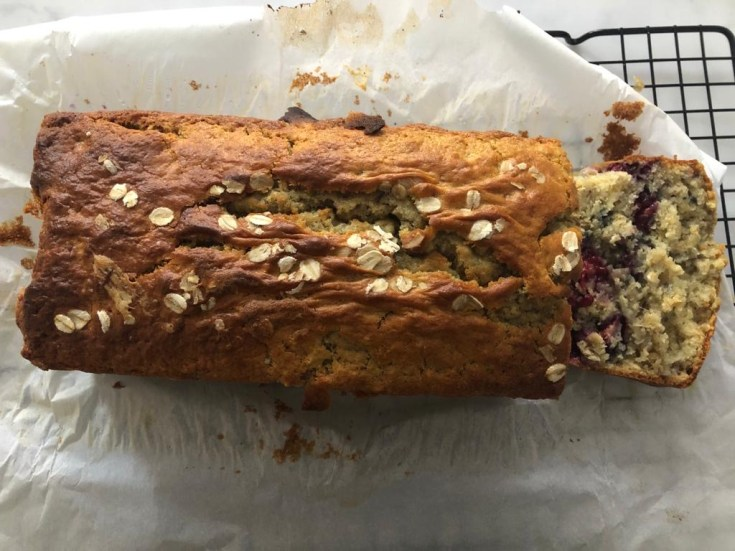 Low-fat bashed Fairtrade banana and berry cake