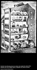 """Esquema de sobrado colonial. Notar os diferentes usos dos andares. FREYRE,Gilberto, """"Sobrados e mucambos"""", 2006."""