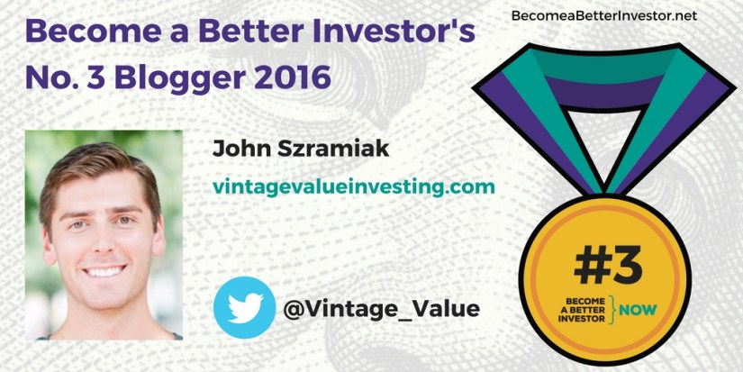 Congratulations @Vintage_Value on becoming the no. 3 Become a Better Investor Blogger 2016!