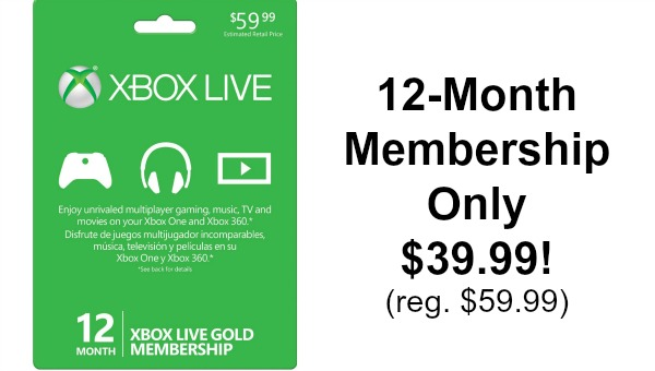 12 Month Xbox Live Gold Membership Only $39.99! (reg. $59.99
