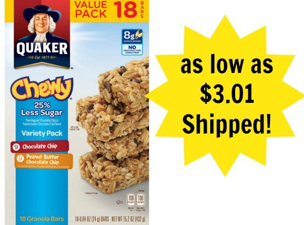 Quaker Chewy Granola Bars 18count as low as 301 Shipped