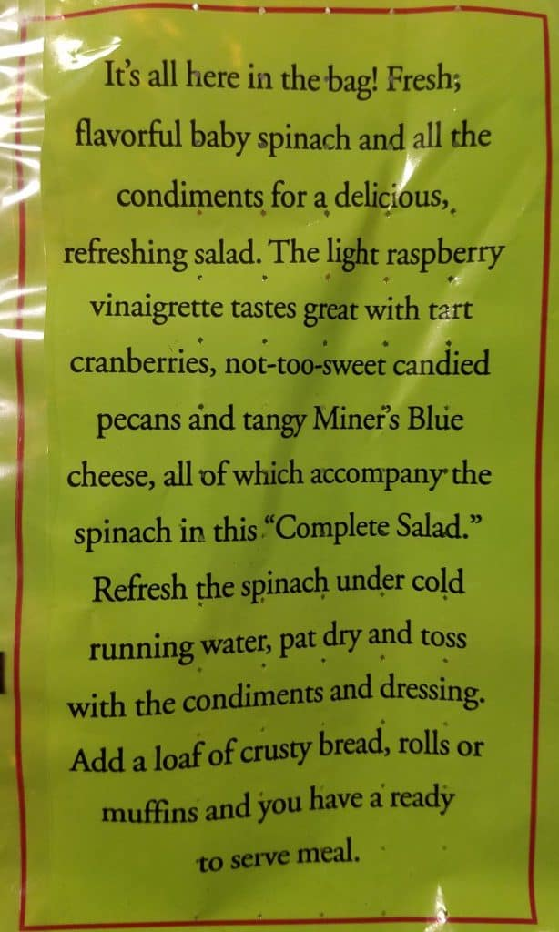 Trader Joe's Baby Spinach and Cranberry Salad Mix