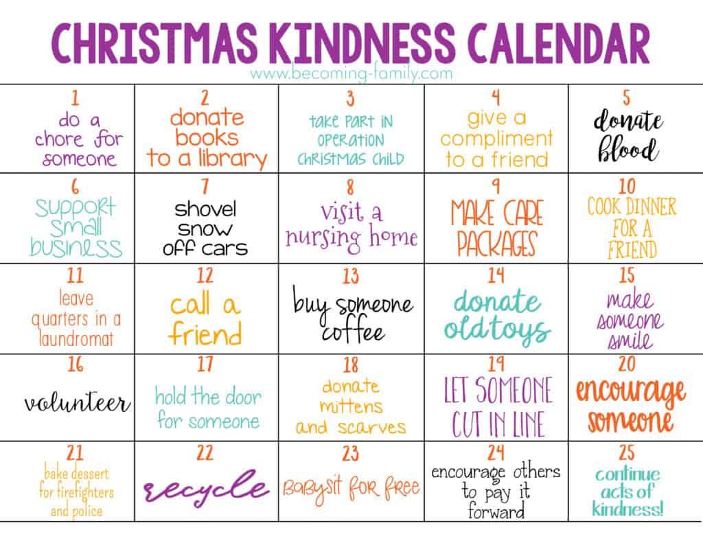 Family Christmas Kindness Calendar Free Printable