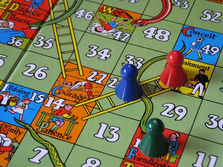 image of snakes and ladder board as a metaphor for how we see out lives