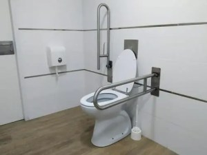 Bathroom fixtures adapted for use by someone with mobility limitations.