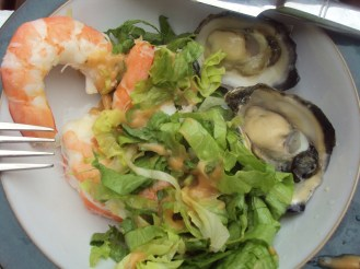 The freshest, tastiest seafood ever (prawn salad and oysters)
