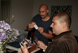 the brothers looking at Jordan cards