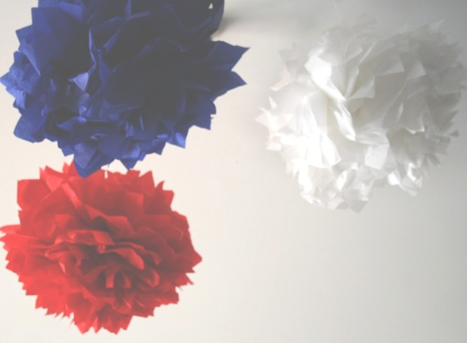 Red, white, and blue puffs
