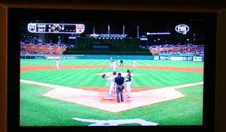 Watching baseball games on TV