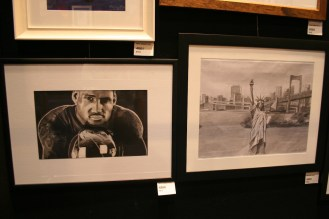 Drawings of LeBron James and a scene of the Statue of Liberty in NY