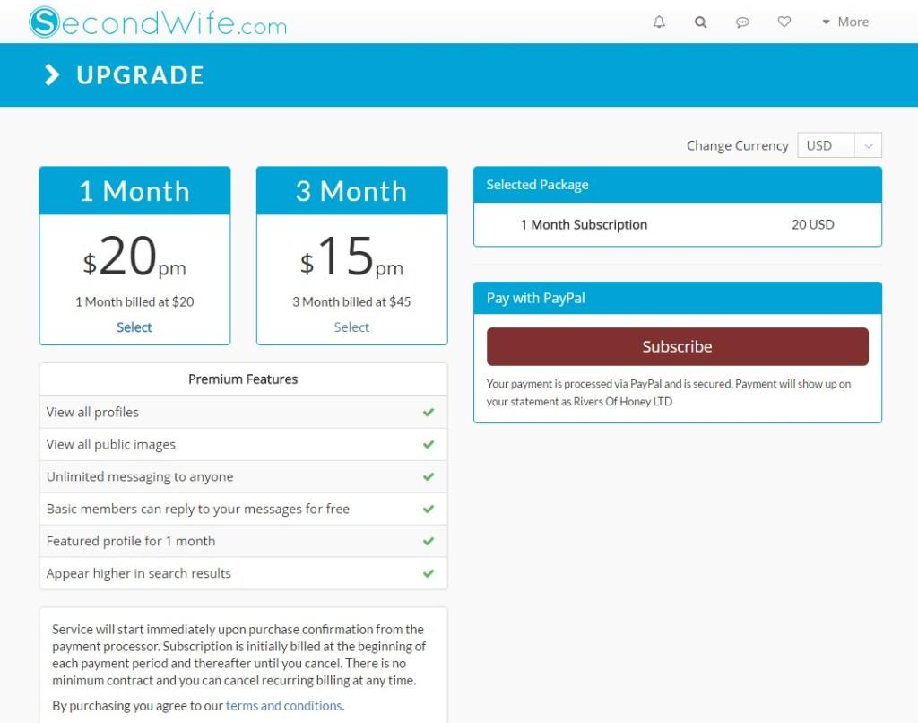 Secondwife.com premium account price and features