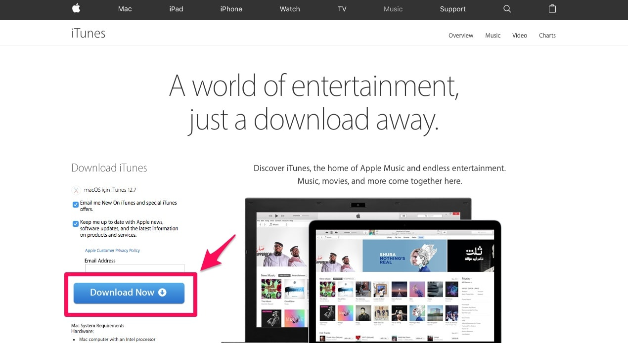download and install itunes on your mac or pc