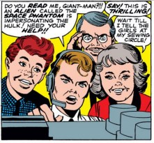 The Teen Brigade girl who just wants to tell her sewing circle all about her exciting Teen Brigade adventures is my favorite. Why do two of these teenagers look super old? Don't ask questions. (Avengers #2)