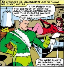 What the hell is going on with Wanda's head in this panel, is what I'd like to know. (Avengers #19)