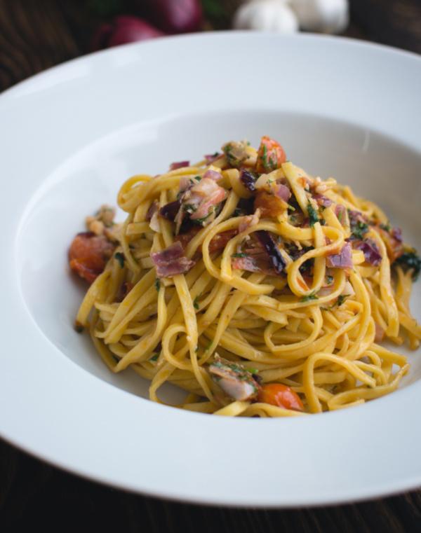 A bowl of homemade pasta