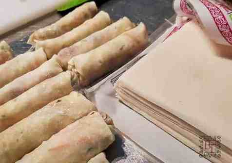 A group of rolled spring rolls